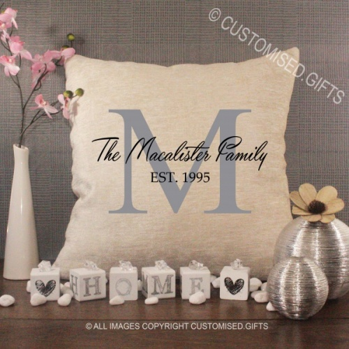 Personalised Cream Chenille Cushion - Family Surname Initial