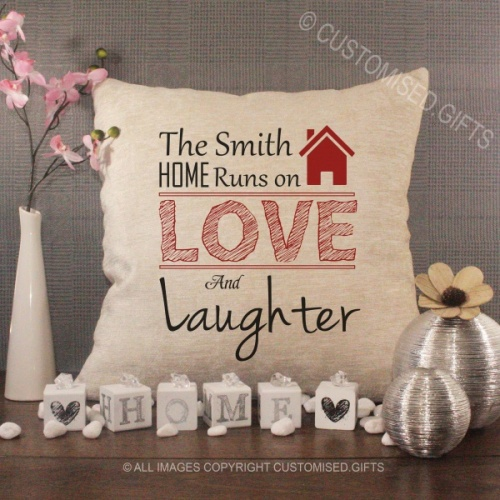 Personalised Cream Chenille Cushion - Runs on Love and Laughter