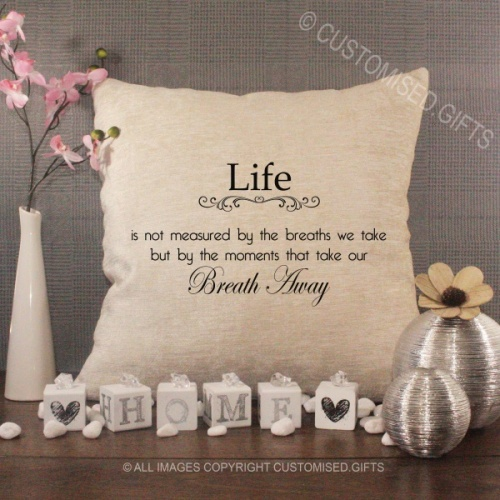 Personalised Cream Chenille Cushion - Life Quote