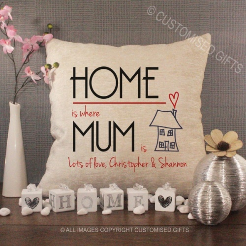 Personalised Cream Chenille Cushion - Home is where Mum is