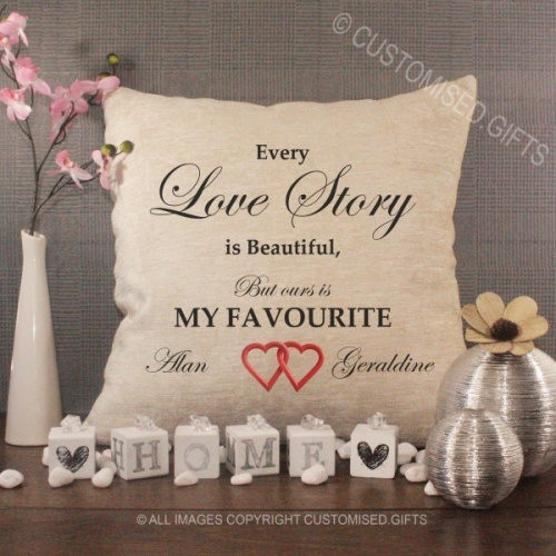 Personalised Cream Chenille Cushion - Love Story