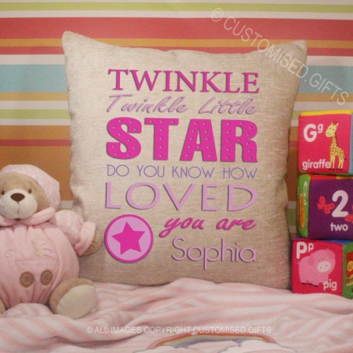 Personalised Cream Chenille Cushion - Twinkle Twinkle Pink