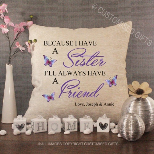 Personalised Cream Chenille Cushion - Sister Friend