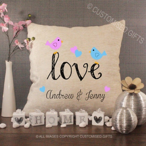 Personalised Cream Chenille Cushion - Love Birds