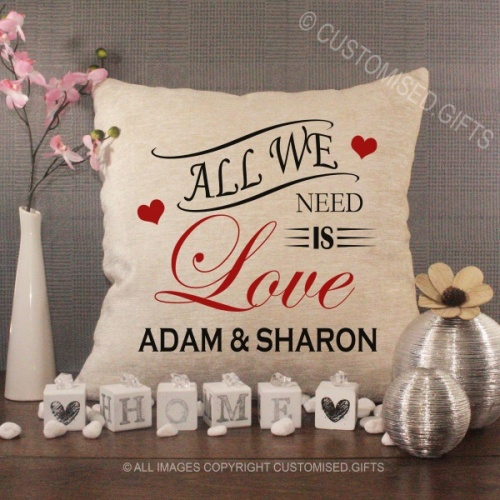 Personalised Cream Chenille Cushion - All we need is Love