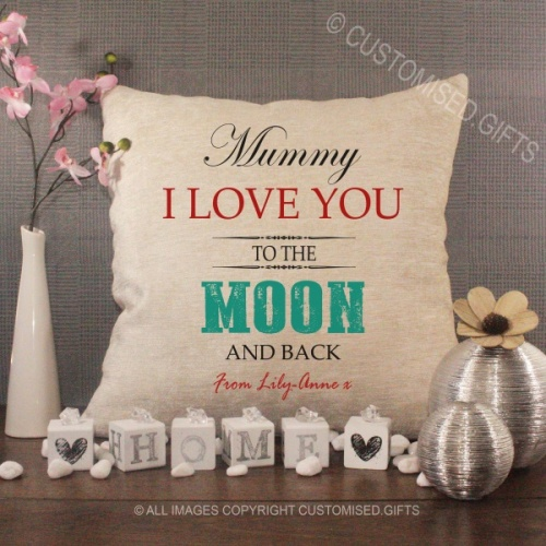 Personalised Cream Chenille Cushion - Love You to the Moon and Back