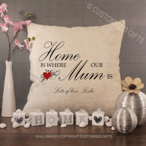 Personalised Cream Chenille Cushion - Home is Where our Mum is