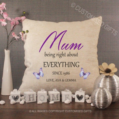 Personalised Cream Chenille Cushion - Mum Being Right About Everything