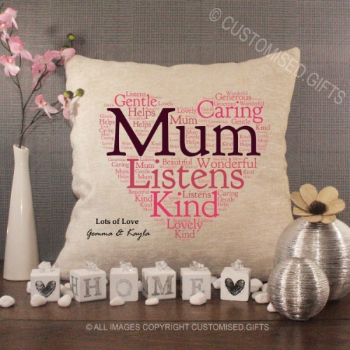 Personalised Cream Chenille Cushion - MUM