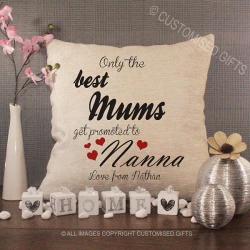 Personalised Cream Chenille Cushion - Only the Best Mums