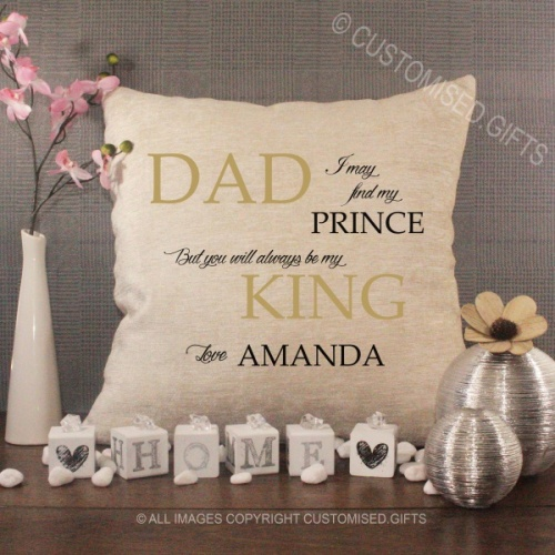 Personalised Cream Chenille Cushion - Dad I may find my Prince