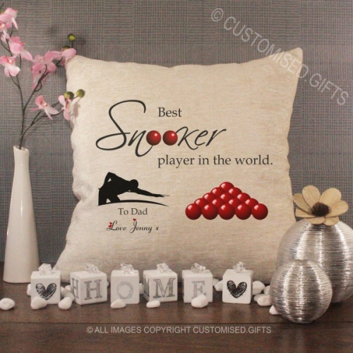 Personalised Cream Chenille Cushion - Best Snooker Player