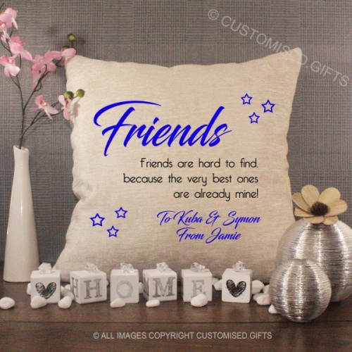 Personalised Cream Chenille Cushion - Friends