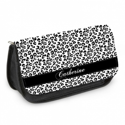 Personalised Pencil Case - Black and White Cheetah