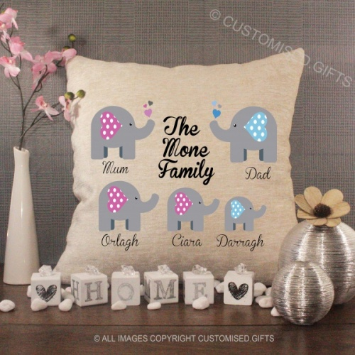 Personalised Cream Chenille Cushion - Elephant Family