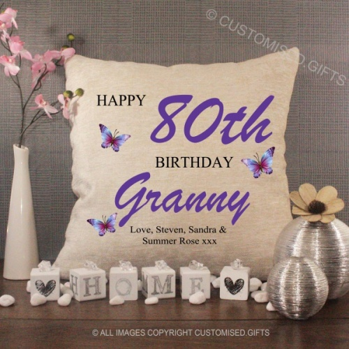 Personalised Cream Chenille Cushion - Happy Birthday Granny