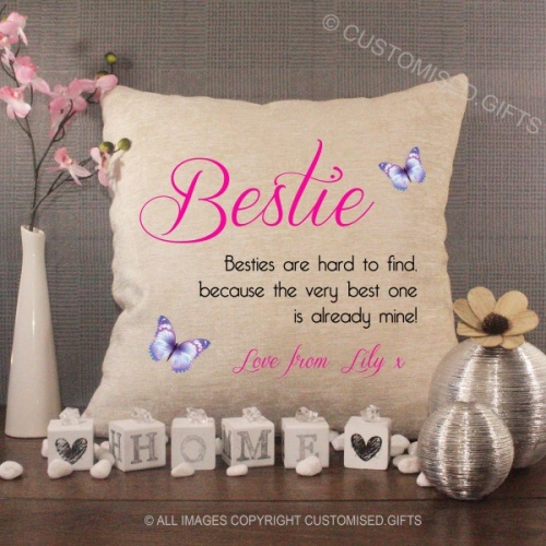 Personalised Cream Chenille Cushion - Bestie