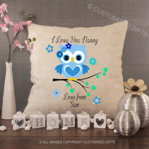 Personalised Cream Chenille Cushion - Blue Owl