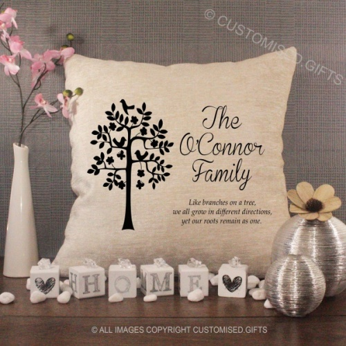 Personalised Cream Chenille Cushion - Family Name Quote