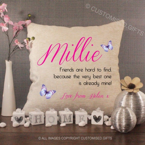 Personalised Cream Chenille Cushion - Friends Are Hard to Find