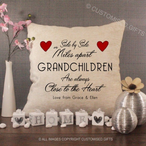 Personalised Cream Chenille Cushion - Close to the Heart