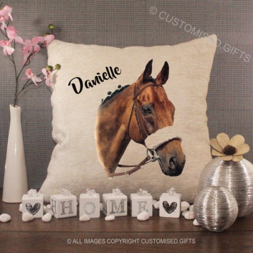 Cream Chenille Cushion - Horse-Add-any-Name