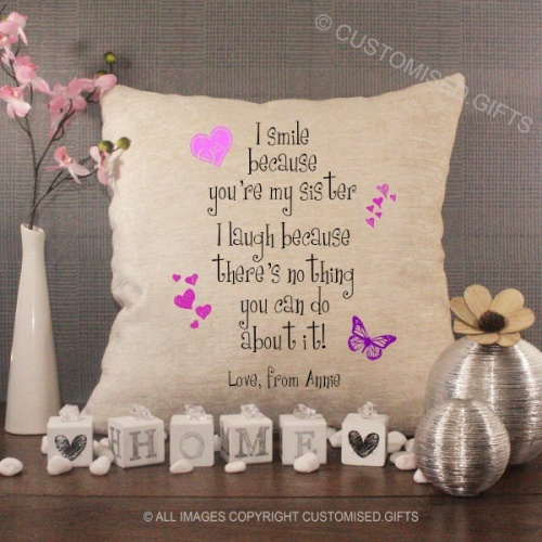 Personalised Cream Chenille Cushion - I Smile Because You're My Sister