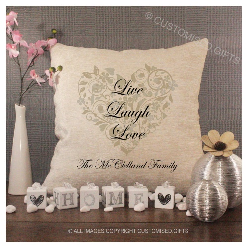 Luxury Personalised Cushion - Inner Pad Included - Live Laugh Love Gold