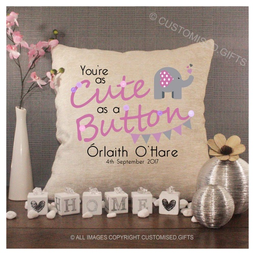 Luxury Personalised Cushion - Inner Pad Included - Cute As A Button Girls