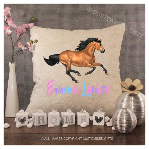 Luxury Personalised Cushion - Inner Pad Included - Brown Horse Running