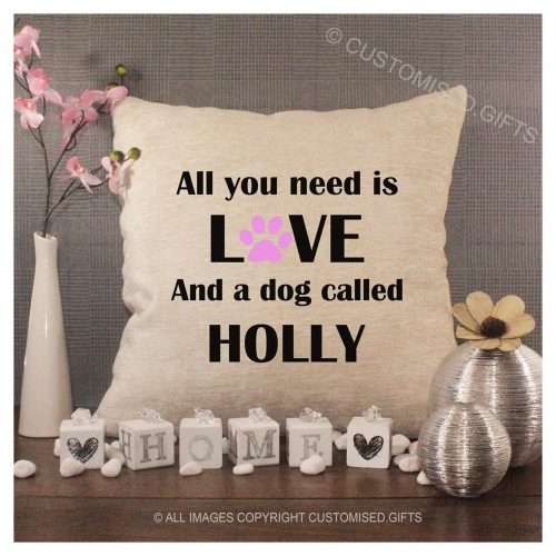 Luxury Personalised Cushion - Inner Pad Included - All You Need Dog Pink