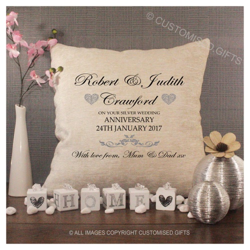 Luxury Personalised Cushion - Inner Pad Included -  Silver Wedding Anniversary