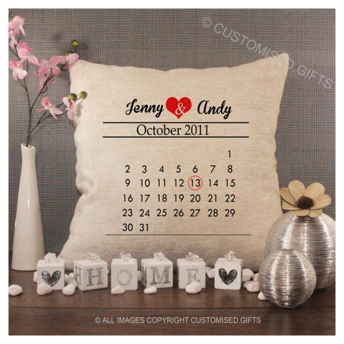 Luxury Personalised Cushion - Inner Pad Included -  Calendar Love