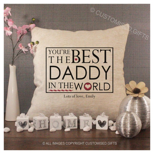 Luxury Personalised Cushion - Inner Pad Included - Best Daddy In The World