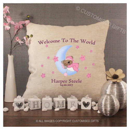 Luxury Personalised Cushion - Inner Pad Included - Welcome To The World Girl