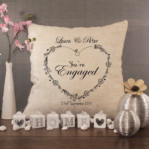 Luxury Personalised Cushion - Inner Pad Included - Engagement