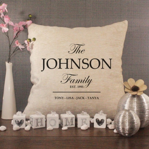 Personalised Cream Chenille Cushion - Family Name Cushion