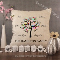 Personalised Cream Chenille Cushion - Family Tree Colourful