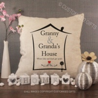Personalised Cream Chenille Cushion - Grandparents House