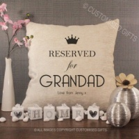 Personalised Cream Chenille Cushion - Reserved for Grandad