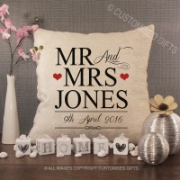 Personalised Cream Chenille Cushion - Wedding Cushion Red Hearts