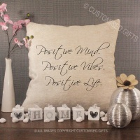 Cream Chenille Cushion - Positive Mind