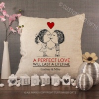 Personalised Cream Chenille Cushion - A Perfect Love
