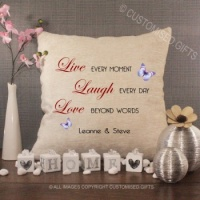 Personalised Cream Chenille Cushion - Live Laugh Love Beyond Words