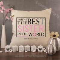 Personalised Cream Chenille Cushion - Best Sister