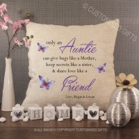 Personalised Cream Chenille Cushion - Auntie Friend