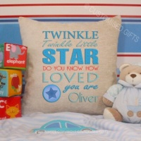 Personalised Cream Chenille Cushion - Twinkle Twinkle Blue