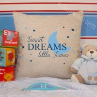 Personalised Cream Chenille Cushion - Sweet Dreams