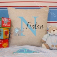 Personalised Cream Chenille Cushion - Elephant Inital