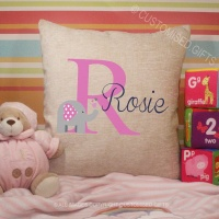 Personalised Cream Chenille Cushion - Elephant Initial Pink